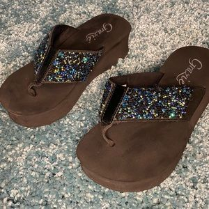 EUC Grazie leather upper sandals.